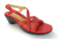 CLARKS Unstructured Size 10 Red Leather Slingback Sandals Shoes
