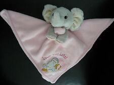 166/ DOUDOU PLAT ELEPHANT EN POLAIRE ROSE GRIS Love you lots ! TTBE
