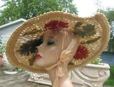 Fun Late 40s Wide Brim Straw Hat With Beautiful Detailing