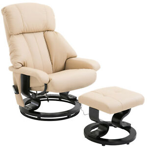 New Electric Heated Massage Sofa Chair with Footrest in Faux Leather- Cream