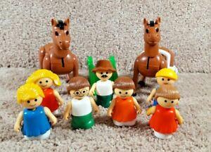 Lot Of 11 Playschool Lil Playmates Little People 7 Figures 2 Horses 1 Slide