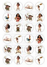 24 Moana Wafer Rice Paper Cupcake Topper Edible Fairy Cake Bun Toppers