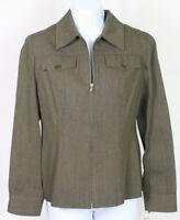 Anne Klein womens size 2 olive green jacket wool blend zip blazer suit