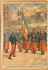 VOYAGE DRAPEAU ZOUAVE DE LA BATAILLE DE PALESTRO DE CONSTANTINE A MARSEILLE 1903