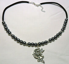 "Choker necklace, grey glass pearls + fairy 17""-19"""
