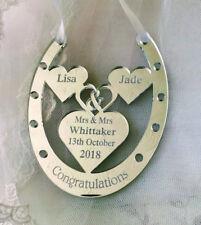 MR & MRS WHITTAKER BRIDE GROOM WEDDING HORSE SHOE GIFT , PERSONALISED ANY NAME