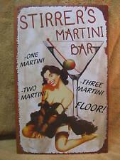 Stirrer's Martini Tin Metal Sign Bar Rec Room FUNNY