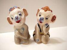 Vintage Figurines Salt & Pepper Shakers Pair Baby Cows Novelty Calf 1940s Japan