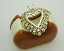 FOREVER LOVE! 10K Solid Yellow Gold HEART Pendant W/40 Round Cut Diamonds 203-L
