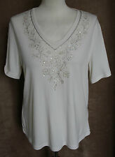 Ivory Stretch Top with Silver Embroidery - Bon Marché - Size M