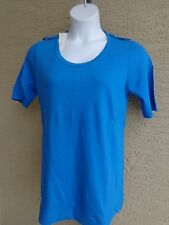 Being Casual Cotton Jersey Knit Top with Epaulettes & Scoop Neck L Blue