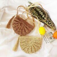 Ladies Crossbody Bag Straw Handbag Boho Wicker Rattan Woven Crochet Beach Summer