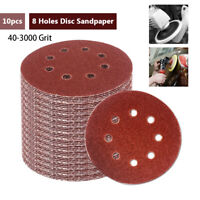 "10 x 125mm Sanding Discs Sandpaper 5"" Orbital Sander P40-P3000 for WOOD & METAL"