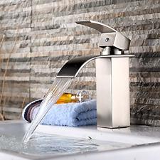 Brand New Stainless Steel Single Handle Waterfall Bathroom Vanity Sink Faucet