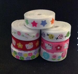 10mm Grosgrain Ribbon, Flowers, Stars, Ladybird, Hello Kitty 2m Lengths