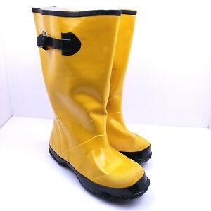 "Mens Size 9 Yellow Black 15.5"" Rubber Work Rain Boots"