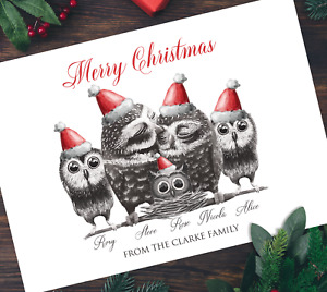 Pack of A5 Xmas Owls Personalised Family Christmas Cards Multipack & Envelopes