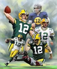 Aaron Rodgers : giclee print on canvas poster painting for autograph B-0748