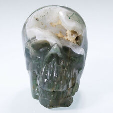 """GEODE 2.38"""" GREEN MOSS AGATE Carved Crystal Skull, Super Realistic N24"""