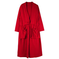 Women's plus size trench coat casual long sleeve V neck Elegant coats black red