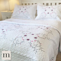 Luxury 100% Cotton White Floral Embroidered Quilt Bedspread Country Cottage