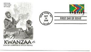 US Scott #4373, First Day Cover 10/24/08 New York Single Kwanzaa