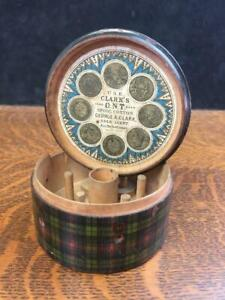 Antique Tartan Ware CLARK'S O.N.T. Thread Spool Holder Box Plaid Advertising Vtg