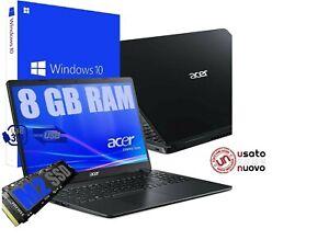"""Notebook Pc Portatile 15.6"""" Acer Amd A4 8Gb SSD M2 500GB Win10Pro RICONDIZIONATO"""