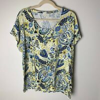 Talbots Women's Top Size XL T Shirt Short Cuffed Sleeves Floral Paisley Casual