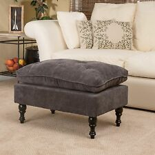 Royal Vintage Design Grey Microfiber Ottoman Footstool