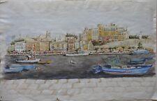 Hafenansicht, Korfu, Grichenland, Aquarell, Ivan Böhm, Original, 64 x 40 cm