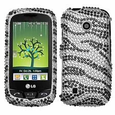 Black Zebra Bling Rhinestone Hard Case Cover for LG Cosmos Touch VN270