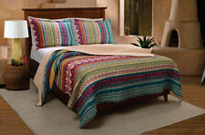 Southwest 2p Twin Quilt Set Stripe Lodge Aztec Native Southwestern Fuschia Gold