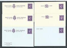 GB Postal Stationery 1965 & 1968 6x QEII 3d violet Postcards & Reply Postcards