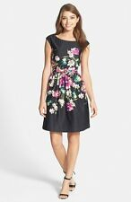 ELIZA J FLORAL PRINT FAILLE BELTED FIT & FLARE  DRESS sz 4