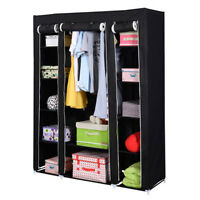 53'' Portable Closet Wardrobe Clothes Rack Storage Organizer With Shelf Black