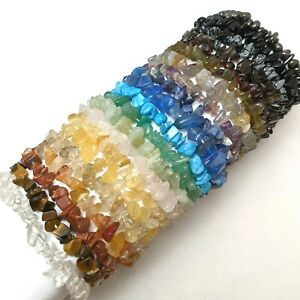 5pcs Gemstone Chip Chakra Bracelets NEW Wholesale Amethyst Rose Quartz etc CB5