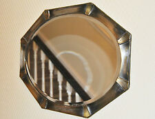 Nice Original Vintage Shabby Chic Metal (Silver Plate?) Framed Oval Wall Mirror