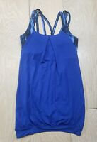 Lululemon Women's Tank Top Size 4 Blue Built in Bra Gym Athletic Workout Padded