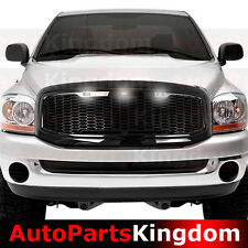 06-08 Dodge RAM Truck Raptor Style Gloss Black Mesh Grille+Shell+White LED light