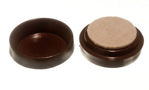 100 x CASTOR CUPS FLOOR PROTECTOR GLIDERSLARGE BROWN WITH FELT PADS 60MM   One S