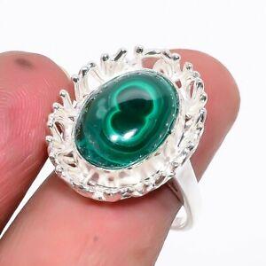Russian Malachite Gemstone 925 Sterling Silver Jewelry Handmade Ring s.8 JR253-4