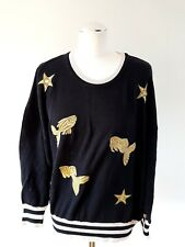 Vintage ESCADA  Margaretha Ley Jumper Embroidered Gold Fish 42 14 Stars 1980s