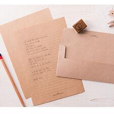 Natural Brown Kraft Letter set - 4sh writing stationary paper 2sh envelope