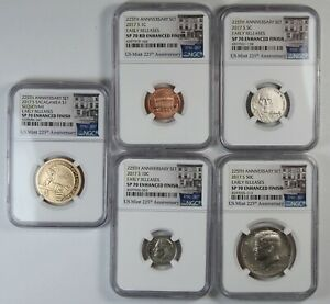 2017-S NGC SP 70 RD Enhanced Finish United States 225th Mint Set -10 Coin Set