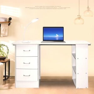 Office Computer Desk Student Study Table Workstation Drawers 120cm White