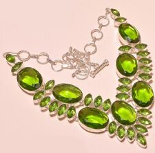 """Classic Faceted Brilliant Green Silver Fashion Jewelry STATEMENT Necklace 18"""""""