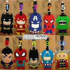 Avenger THOR HULK BATMAN SUPERMAN KID Travel Luggage Tag School Bag Silicone NEW