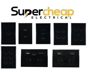 Matt Black Slim Light Switch 1 2 3 4 5 6 Gang Double Power Point PowerPoint GPO