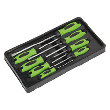 Super Saver Sealey Premier 8 Pce Hi Vis Green Screwdriver Set Flat Pozi Phillips